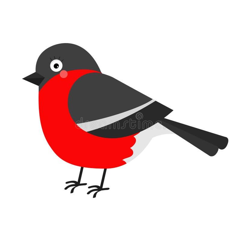 Gil zimy czerwieni piórka ptak Ślicznej kreskówki śmieszny charakter Dziecko kolekcja Płaski projekt odosobniony Biały tło ilustracja wektor