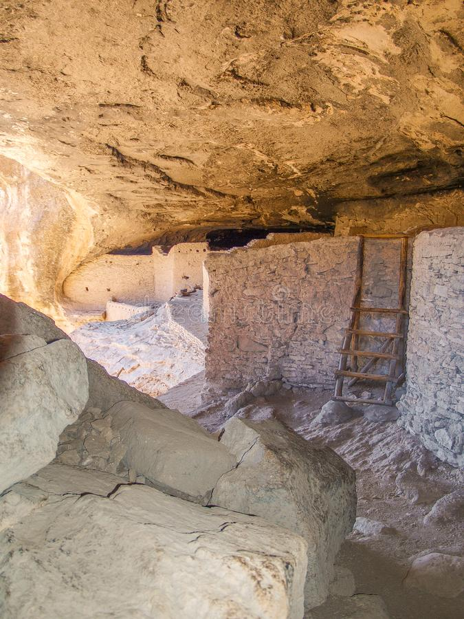 Gila Cliff Dwellings in New Mexico. The Gila Cliff Dwellings were built over 700 years ago by ancestors of the Puebloan Indians. They are located in the Gila royalty free stock image