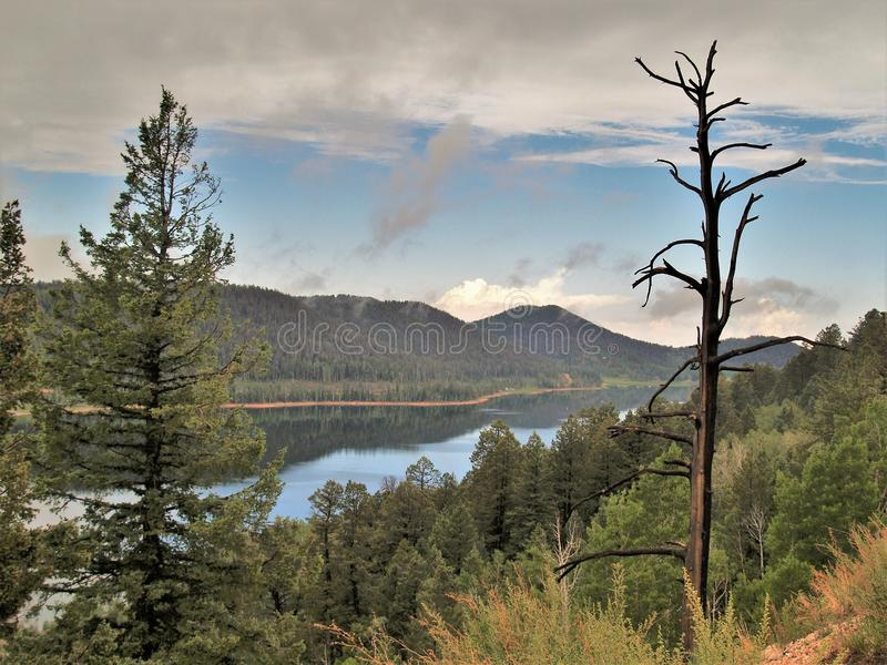 Gila Lake Roberts Sunset. Lake Roberts is a small, scenic lake in the Gila Mountains north of Silver City, New Mexico stock photo