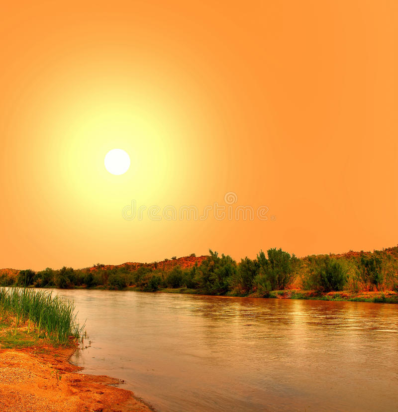 Gila River. In Arizona with yellow sunset stock images
