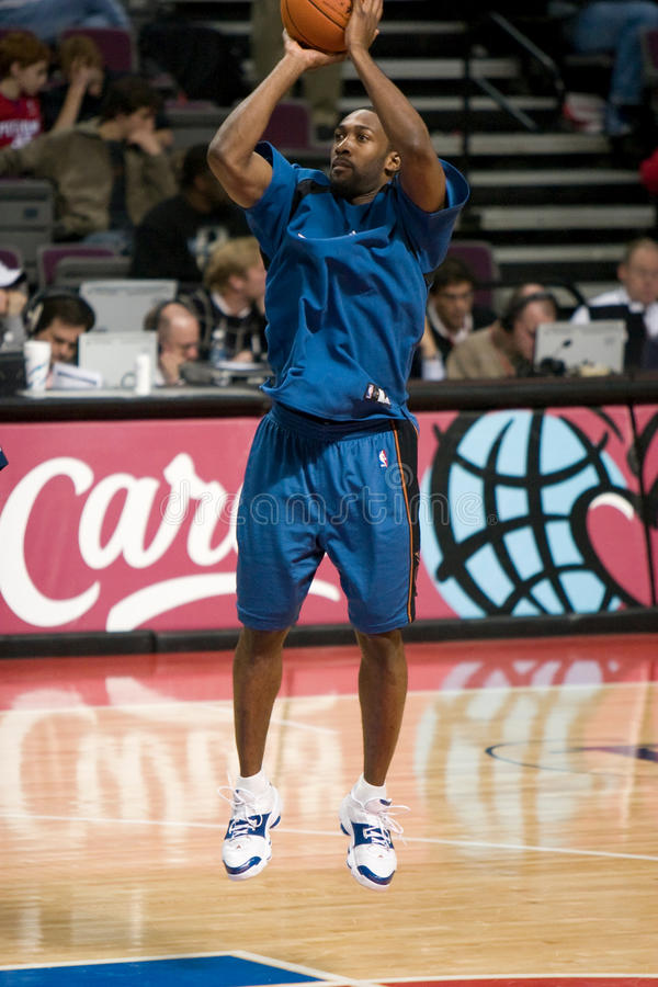 Gilbert Arenas Warms Up. Gilbert Arenas of the Washington Wizards warms up before a game against the Detroit Pistons at the The Palace Of Auburn hills during the stock photo