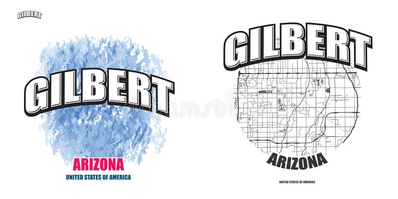 Gilbert, Arizona, deux illustrations de logo illustration stock