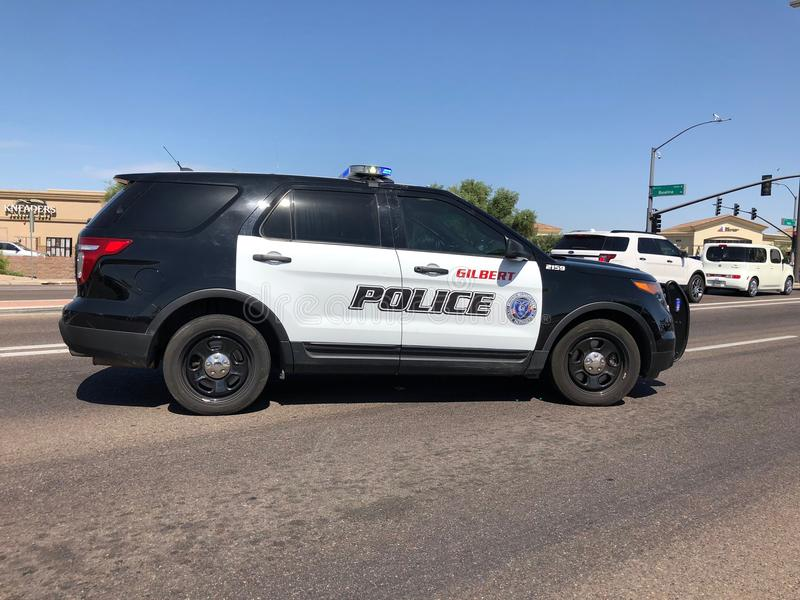 Gilbert Arizona Police SUV On The Road. A Police SUV blocking roadway after a accident happened. The location is in Gilbert Arizona royalty free stock images