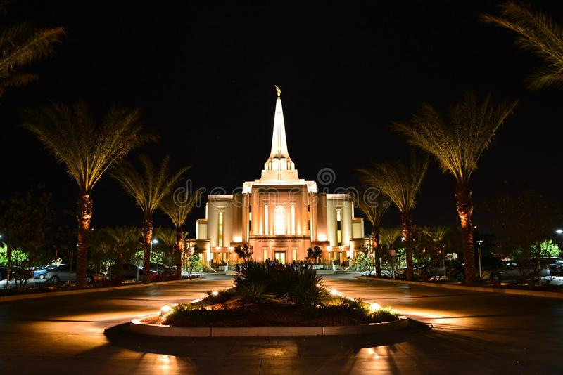 Gilbert Arizona temple. Night of the Gilbert Arizona temple, located at Phoenix Mesa area near Costco stock images