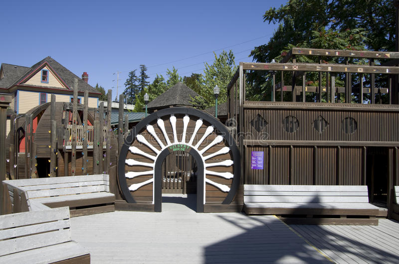 Gilbert House Children`s Museum. Beautiful wooden playground in the backyard of Gilbert House Children`s Museum, Salem, Oregon State, Washington stock photography