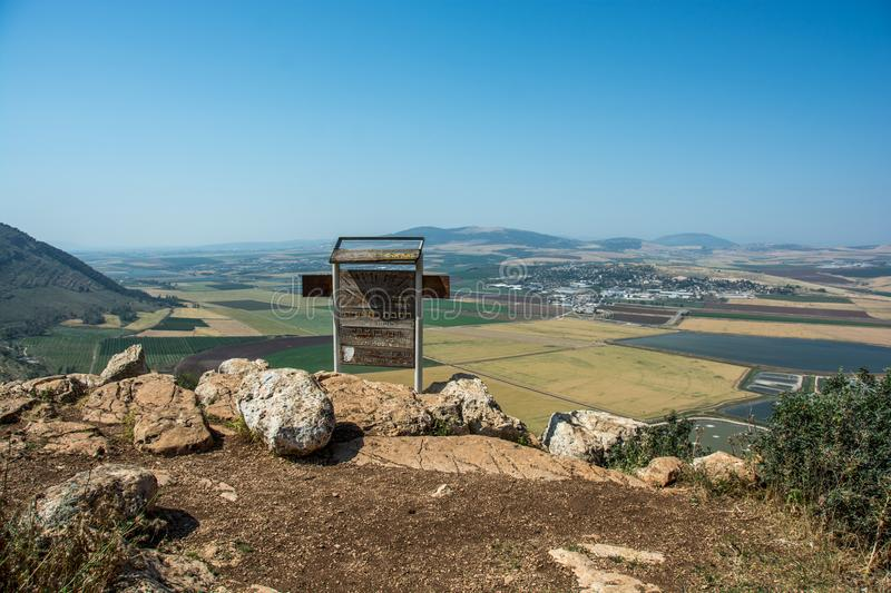 Panoramic view on the valley from mountain ridge stock photography
