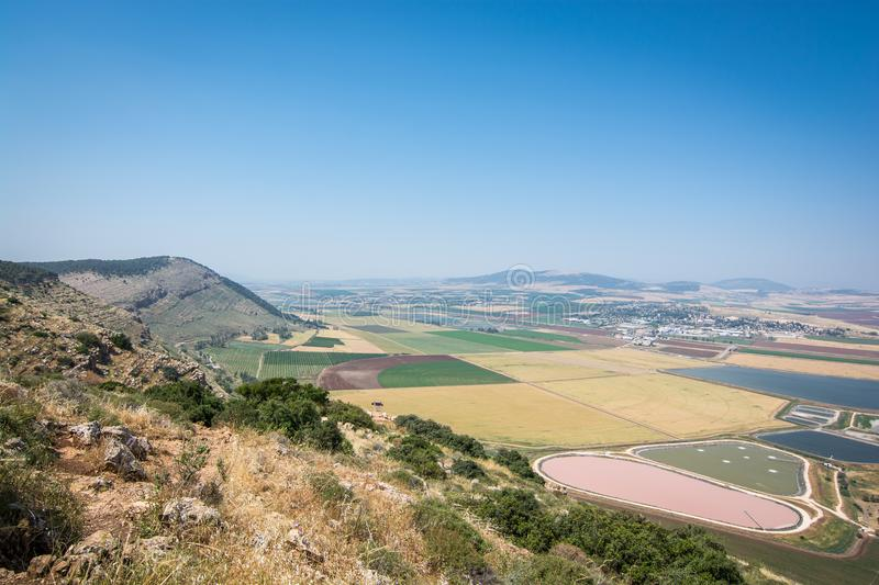 Panoramic view on the valley from mountain ridge stock images