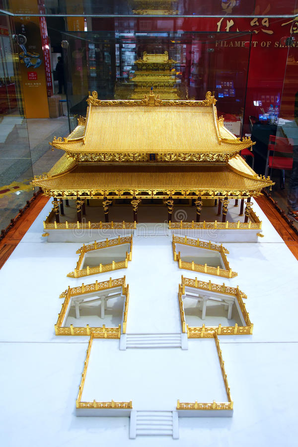 Gilded ancient architectural model. Shanxi First Arts and Crafts Masterpieces Expo was held in 2012.11.1-2012.11.5 in Taiyuan, China. This is gilded ancient royalty free stock photos