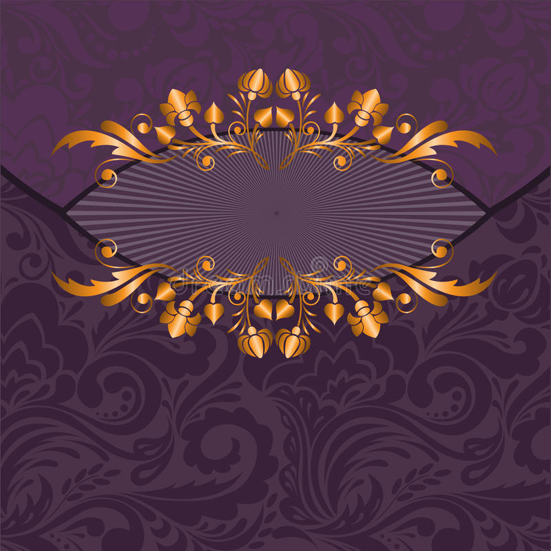 Gilded decor on a purple stock illustration