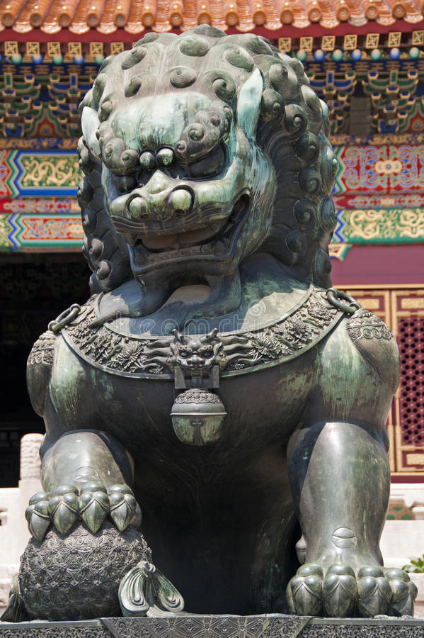Gilded Lion Statue. Within the walls of the Forbidden City, Beijing, China stock images