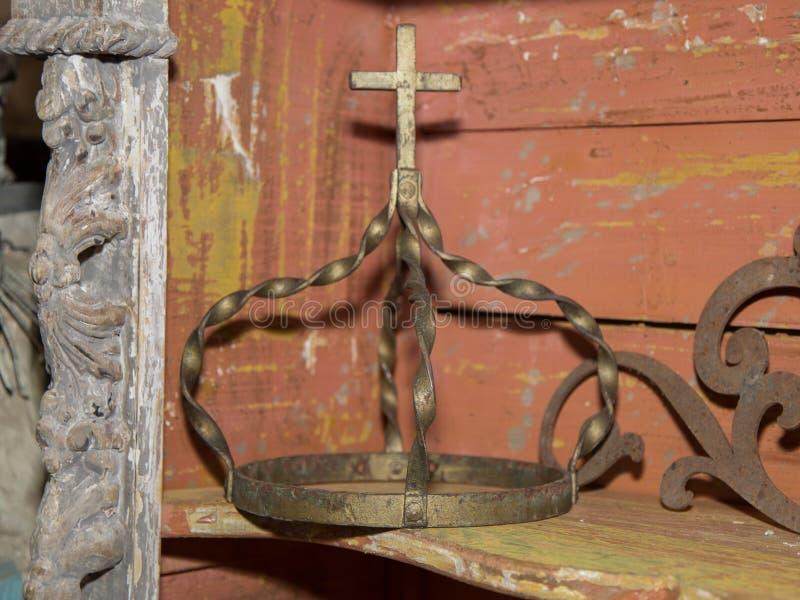 Gilded Metal Ecclesiastical Crown: Spiritual and Religious Theme.  royalty free stock photo