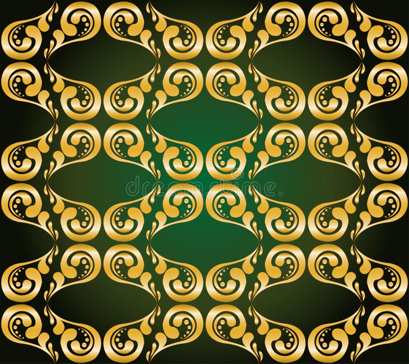 Gilded ornament on green