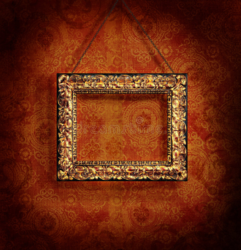 Download Gilded Picture Frame On Antique Wallpaper Stock Illustration - Image: 6616087