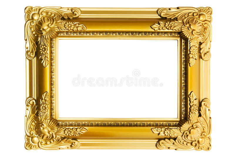 Gilded Plastic Frame. Vintage picture frame isolated on a white background stock images