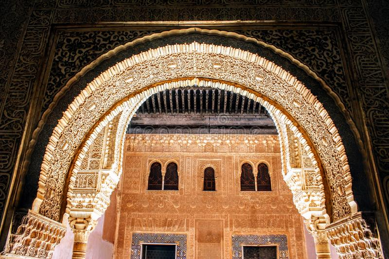 Gilded Room. Patio of the Gilded Room, in la Alhambra of Granada royalty free stock images