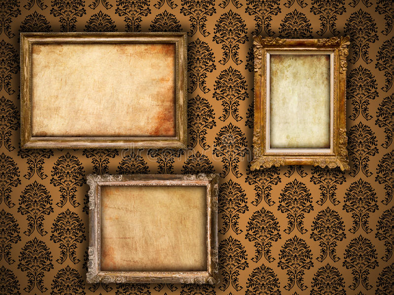 Gilded Vintage Frames On Damask Wallpaper Stock Photo - Image of ...