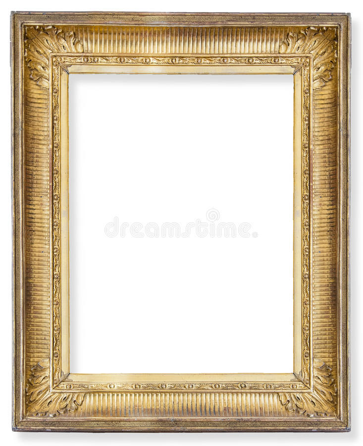 Gilded wooden frame. Gold frame. Gold gilded arts and crafts pattern picture frame stock images