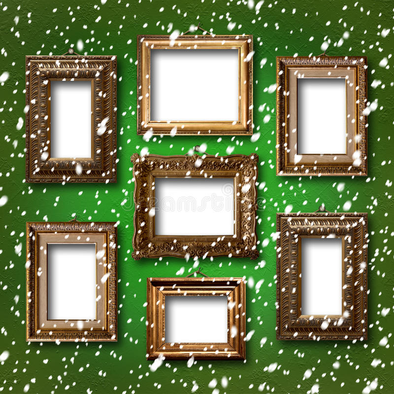 Gilded wooden frames for pictures on abstract background royalty free illustration