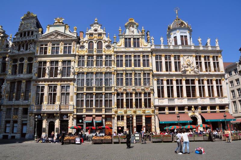Gildehuizen op Grand Place in Brussel stock afbeelding