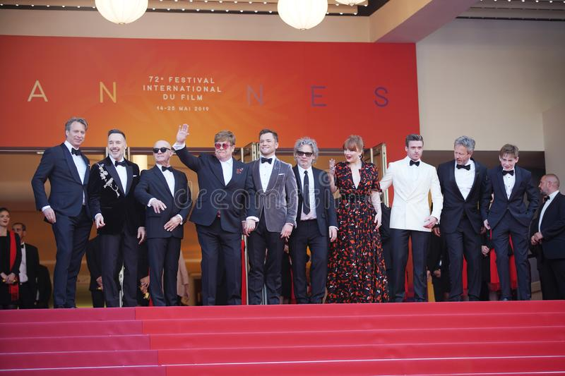 Giles Martin, David Furnish, Bernie Taupin, Sir Elton John, Taron Egerton, Director Dexter Fletcher and Bryce Dallas Howard. At the gala premiere for ` stock photo