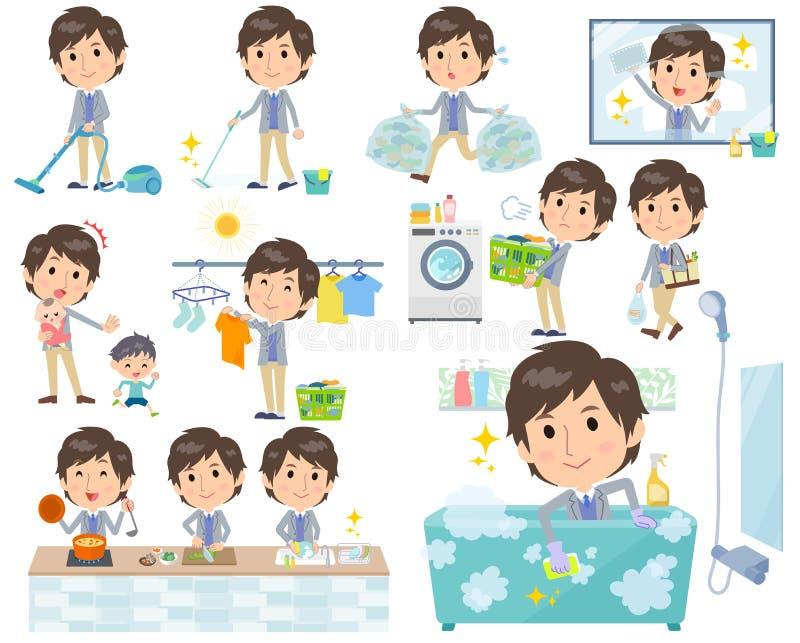 Gilet bleu de veste men_housekeeping illustration de vecteur