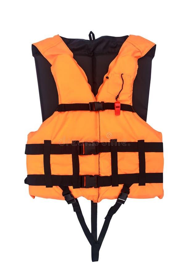 Gilet de sauvetage orange d'isolement avec le chemin de coupure photo stock
