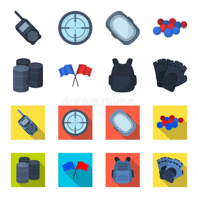 Gilet protecteur, gants et tout autre équipement Icône simple de Paintball dans la bande dessinée, actions plates de symbole de v illustration libre de droits