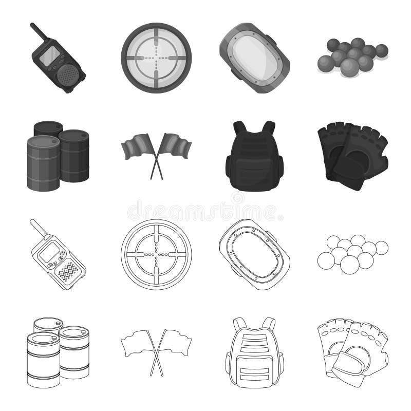 Gilet protecteur, gants et tout autre équipement Icône simple de Paintball dans le contour, actions monochromes de symbole de vec illustration libre de droits