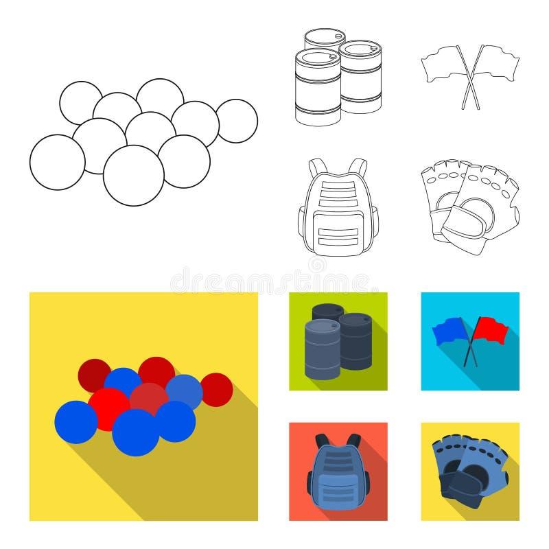 Gilet protecteur, gants et tout autre équipement Icône simple de Paintball dans le contour, actions plates de symbole de vecteur  illustration libre de droits