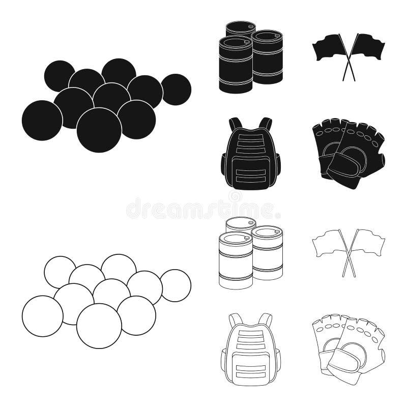 Gilet protecteur, gants et tout autre équipement Icône simple de Paintball dans le noir, actions de symbole de vecteur de style d illustration libre de droits