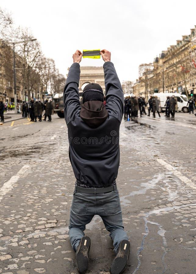 GiletsJaunes ActeXVII Paryż zdjęcie stock