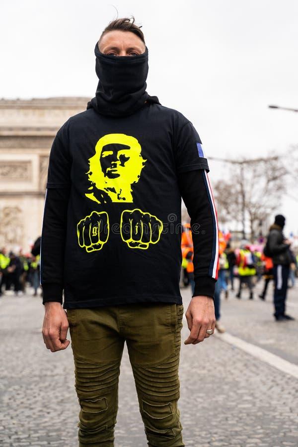 GiletsJaunes ActeXVII Paryż obraz stock