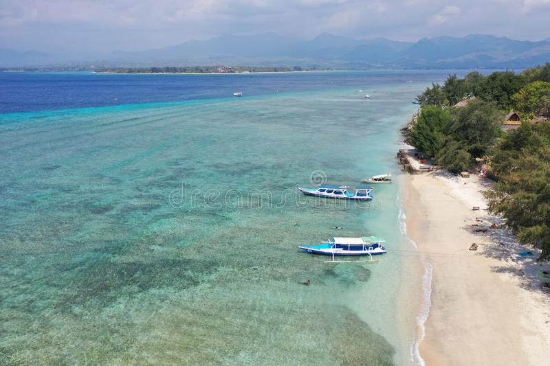 Gili Air Island Aerial landscape view Bali Lombok Indonesia stock image
