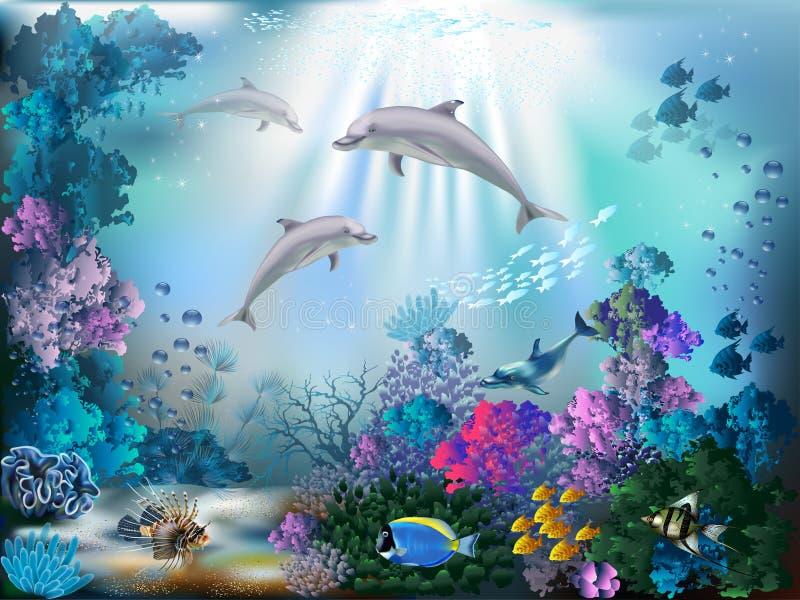 gili Indonesia wyspy lombok meno blisko dennego żółwia underwater światu royalty ilustracja