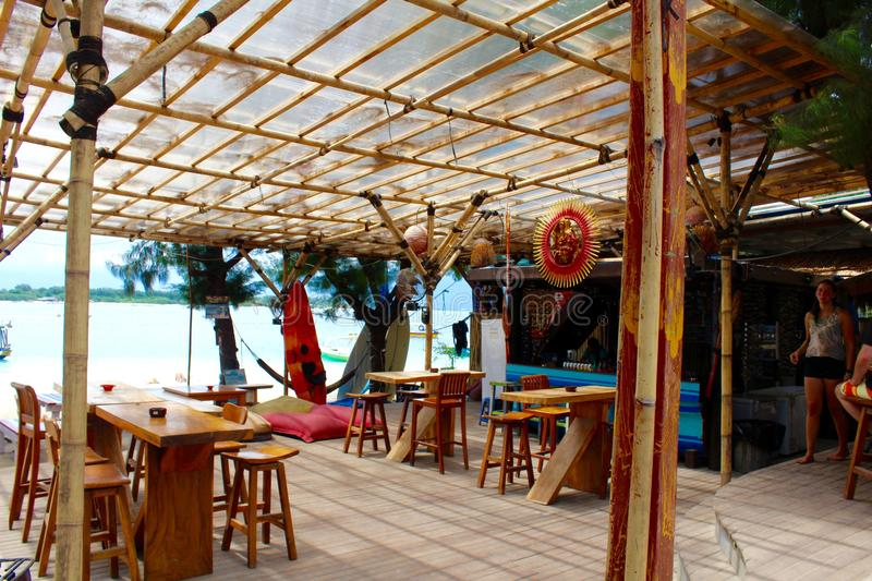 Gili Island - Indonesia . The colors of the bars and pubs in front of the beach royalty free stock images