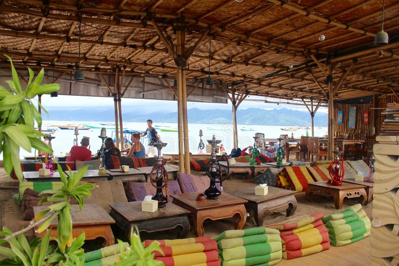 Gili Island - Indonesia . The colors of the bars and pubs in front of the beach. Is an Island with a lot of night life with bars and pubs in front of the beach royalty free stock photo