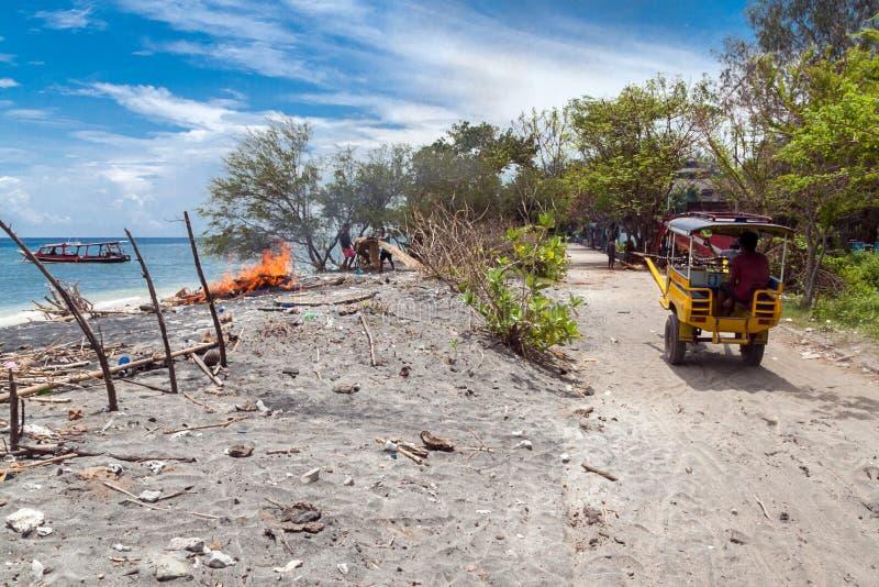 Gili Trawangan. Horsedrawn cart on Gili Trawangan island in Indonesia royalty free stock photography