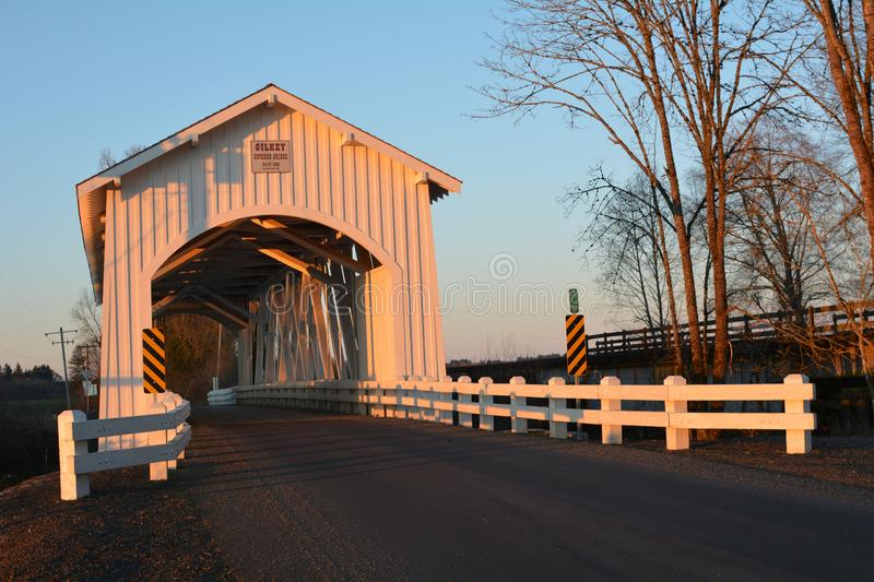 Left view of Gilkey Covered Bridge in Linn County, Oregon at sunset. The Gilkey Bridge is a covered bridge in Linn County in the U.S. state of Oregon.[1] It was stock image