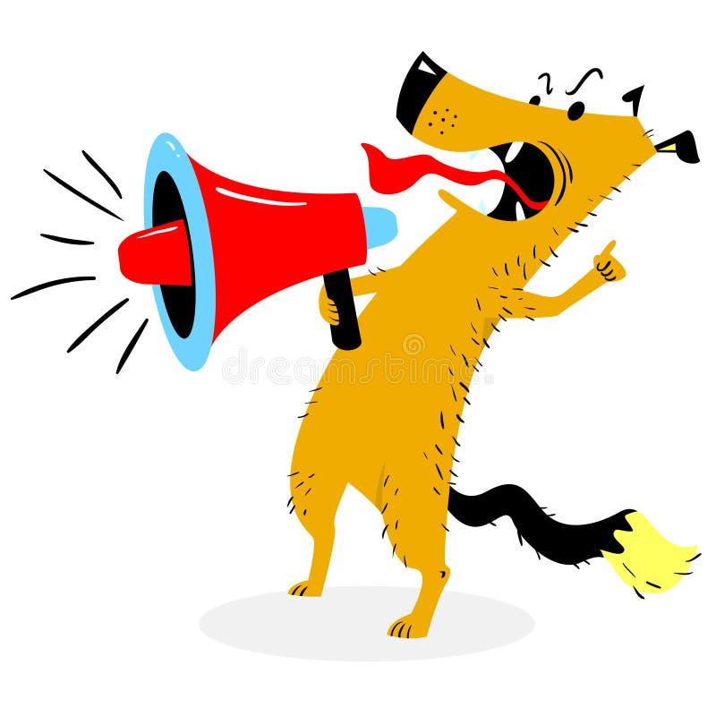 Gillende Hond De hondschorsen in de luidspreker stock illustratie