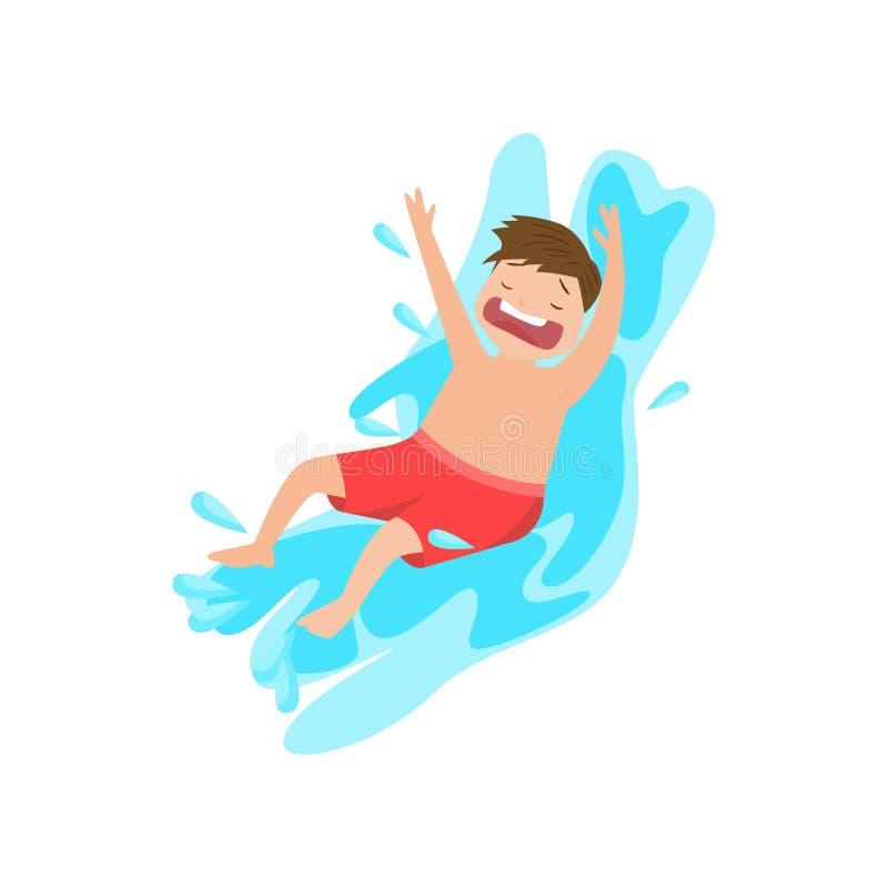 Gillende jongen die neer binnen water glijdt dat op witte achtergrond wordt geïsoleerd royalty-vrije illustratie