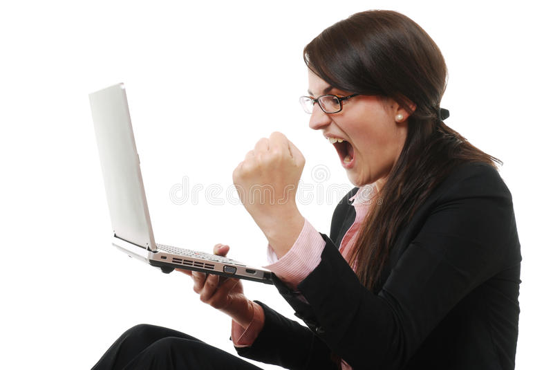 Gillende onderneemster met laptop royalty-vrije stock fotografie