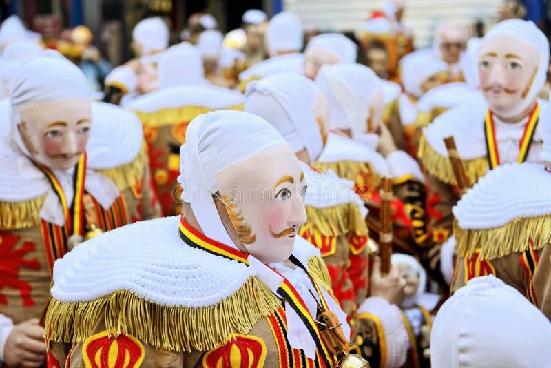 Gilles De Binche в традиционных масках стоковое фото rf