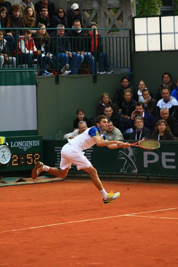 Gilles Simon bei Roland Garros 2013 lizenzfreies stockbild