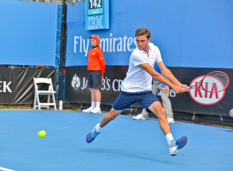 Gilles Simon, der auf die Australian Open spielt stockbild