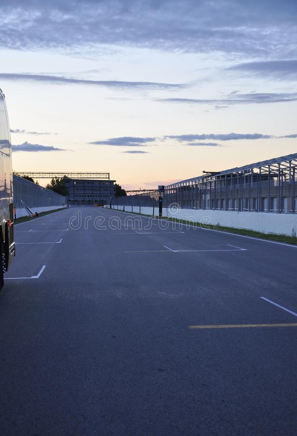 Gilles Villeneuve Track of Isle Notre Dame at dawn from Montreal in Canada stock photography