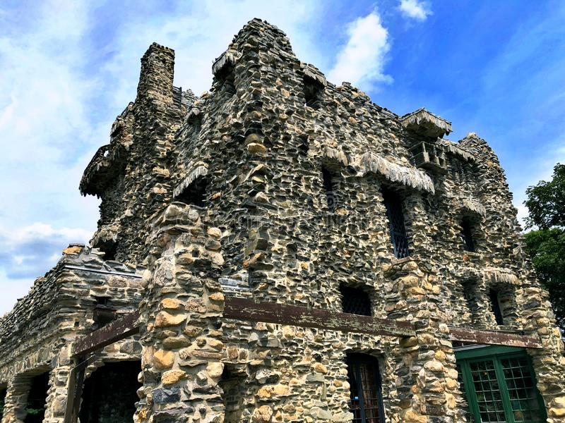 Gillette Castle exterior. Gillette Castle State Park straddles the towns of East Haddam and Lyme, Connecticut in the United States, sitting high above the stock images