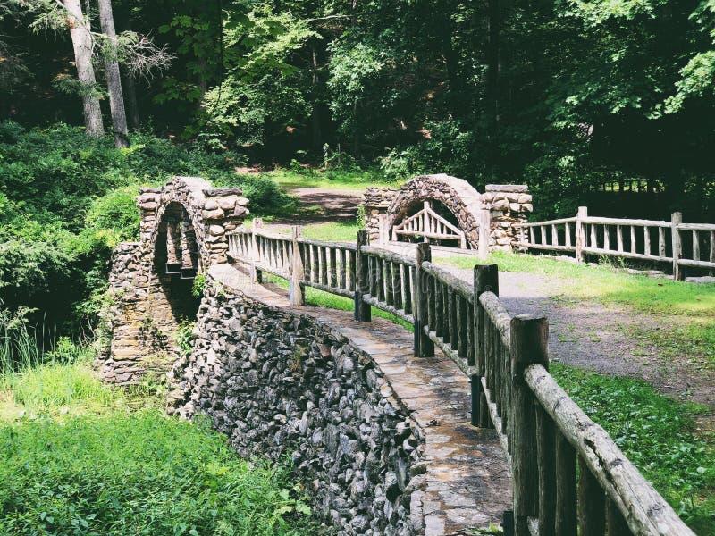 Gillette Castle State Park stone bridge stock image