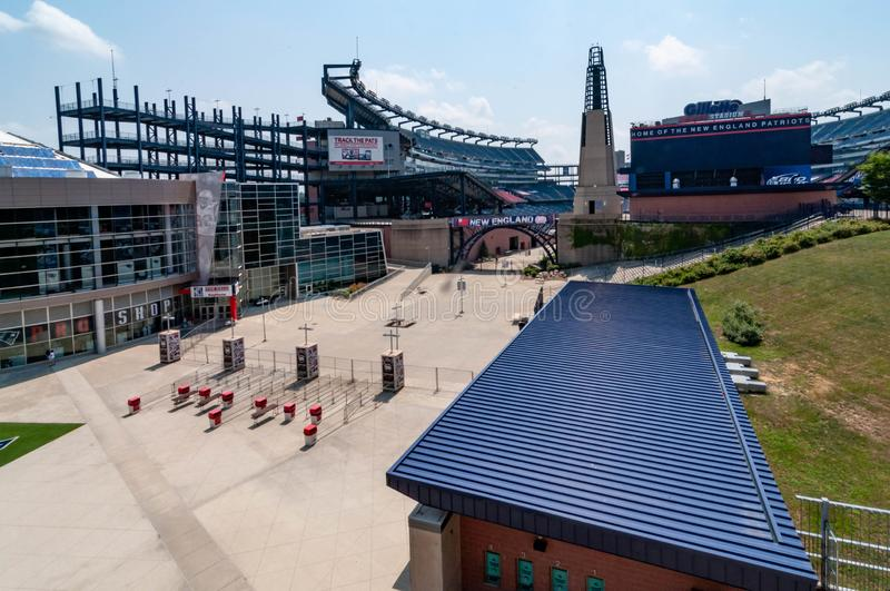 Gillette Stadium, home of the New England Patriots. FOXBORO, MA - AUGUST 4: Gillette Stadium, home of the New England Patriots on August 4, 2012. It is located royalty free stock photo