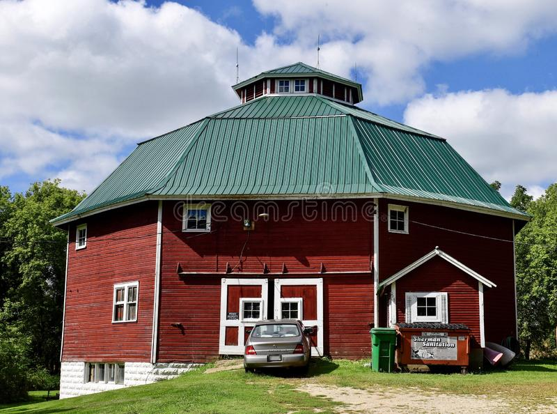 Gilley-Tofsland Octagonal Barn #1. This is a late summer picture of the iconic Gilley-Tofsland Octagonal Barn, built in 1913, it is located in Porter, Wisconsin stock photos