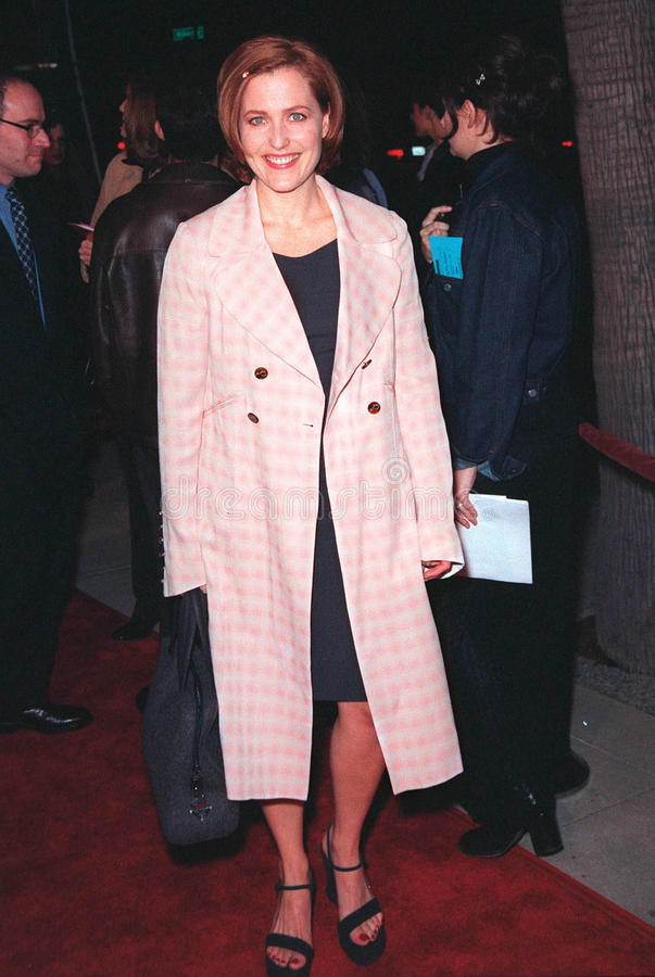 Gillian Anderson. 10DEC98: 'X-Files' star GILLIAN ANDERSON at world premiere of her new movie 'Playing by Heart' in which she stars with Sean Connery. Paul Smith royalty free stock images